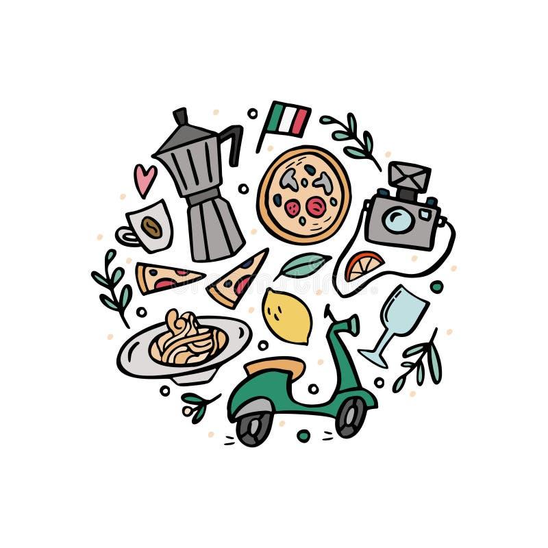 Rund sammansättning med traditionella symboler av Italien vektor illustrationer