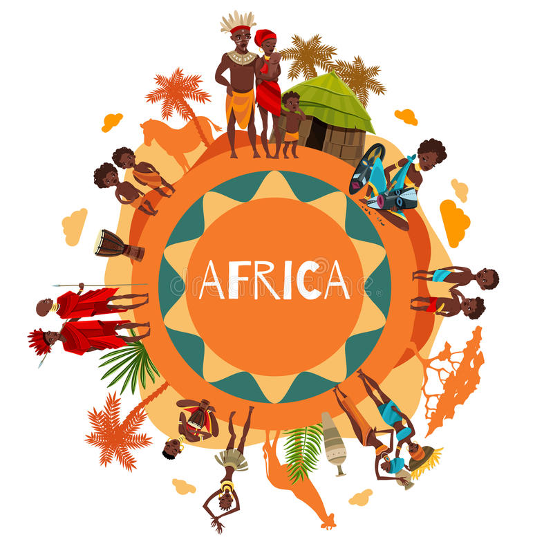Rund sammansättningsaffisch för afrikanska kulturella symboler royaltyfri illustrationer