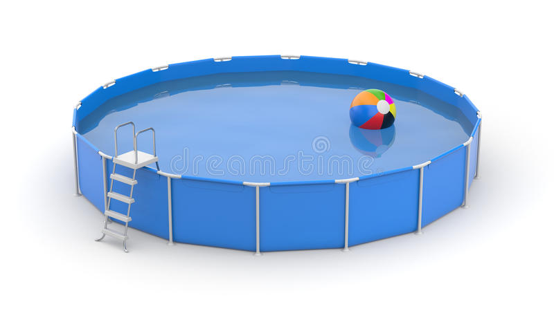 Rund simbassäng med bollen vektor illustrationer