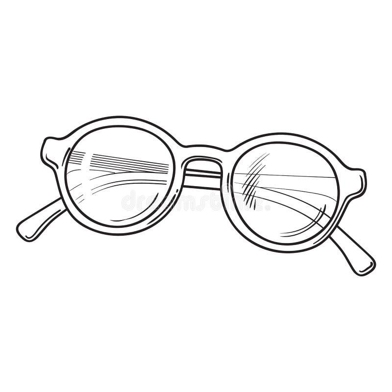 Rund solglasögon för innegrej i den plast- ramen, attribut för sommarsemester vektor illustrationer