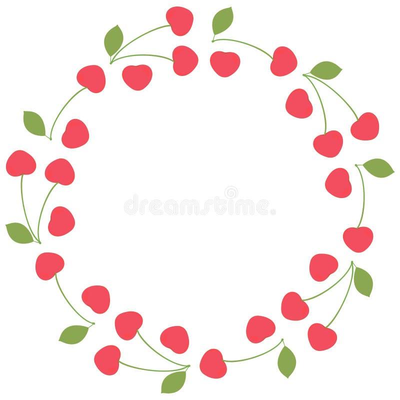 Rund sommarram-krans av nya hela körsbärsröda bär med och utan stjälk och sidor på en vit bakgrund mall stock illustrationer