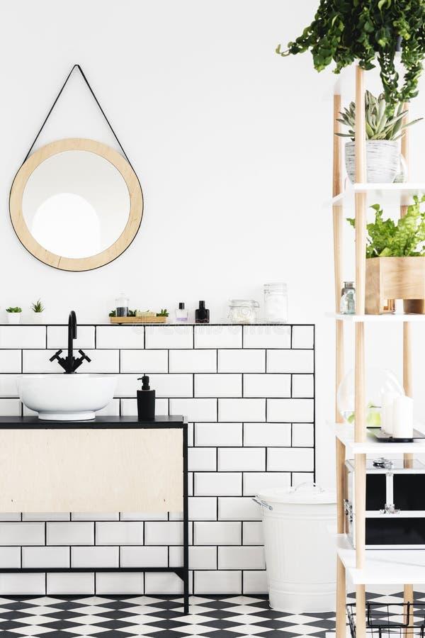 Rund spegel ovanför vithandfatet i modern badruminre med växter Verkligt foto royaltyfri bild