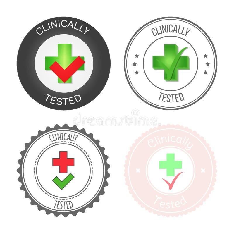 Rund stämpel för godkänd och testad produkt, medicin och service Vektorillustration i olika versioner stock illustrationer