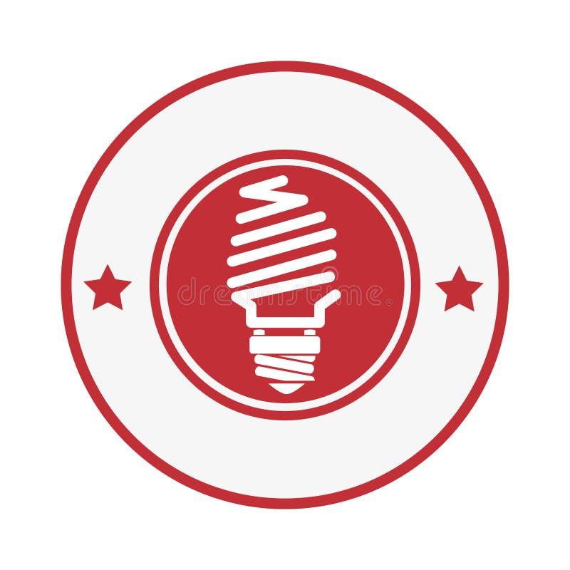 Rund stämpel med symbolen för ljus kula och dekorativa stjärnor royaltyfri illustrationer