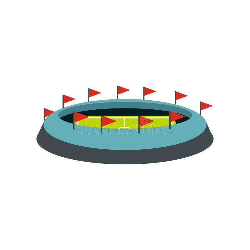 Rund stadion med flaggasymbolen stock illustrationer