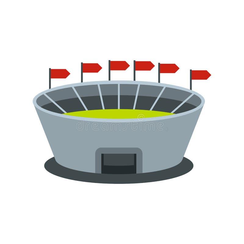Rund stadion med flaggasymbolen royaltyfri illustrationer