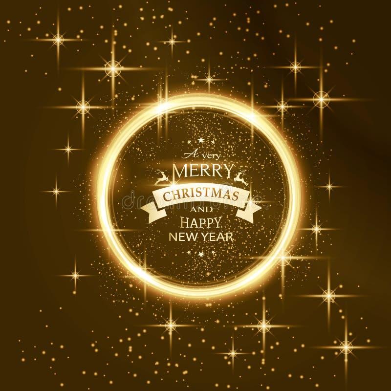 Rund stjärnaram med typografi för glad jul royaltyfri illustrationer