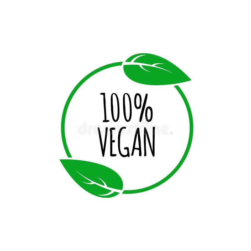 Rund strikt vegetarian för vektor, eco, bio grön logo med bladet Vektorbeståndsdelar för etiketter, logoer, emblem, klistermärkea stock illustrationer
