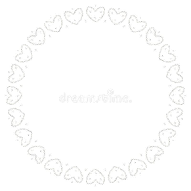 Rund svart är en vit ram av jordgubbar i formen av hjärtor F?rga sidan mall royaltyfri illustrationer