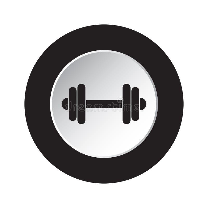 Rund svart, vit knappsymbol med hanteln stock illustrationer