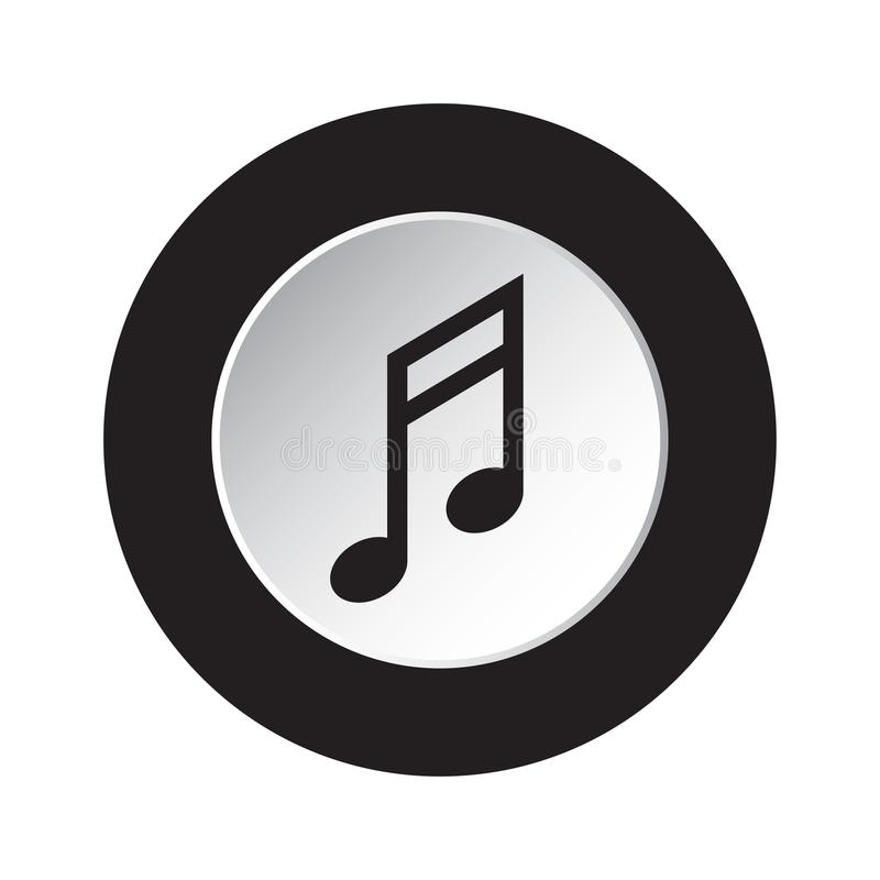 Rund svart, vit knappsymbol - musikalisk anmärkning royaltyfri illustrationer