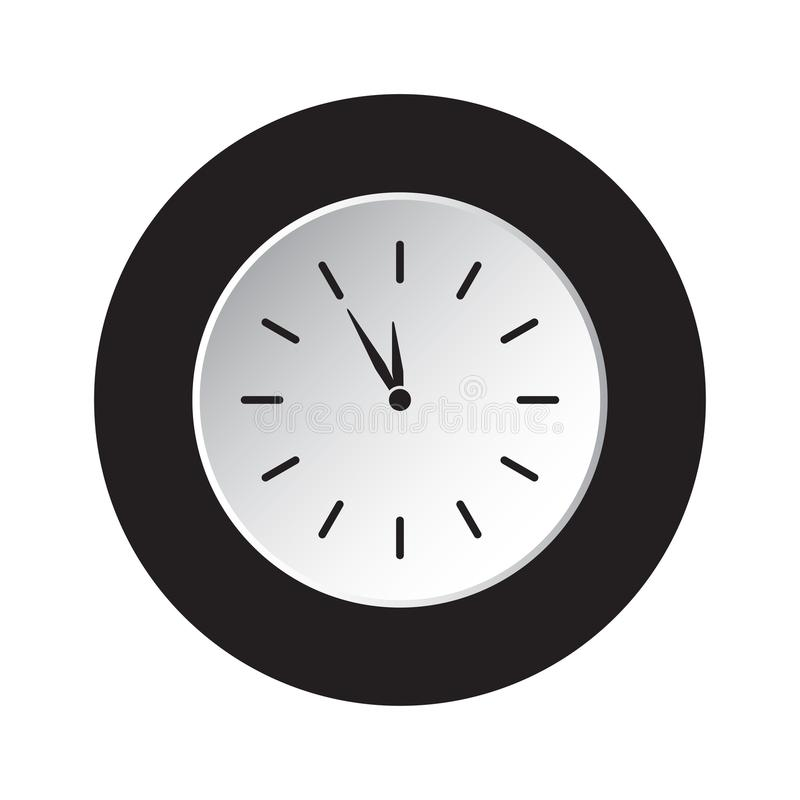 Rund svart, vit knappsymbol - sista minimal klocka royaltyfri illustrationer