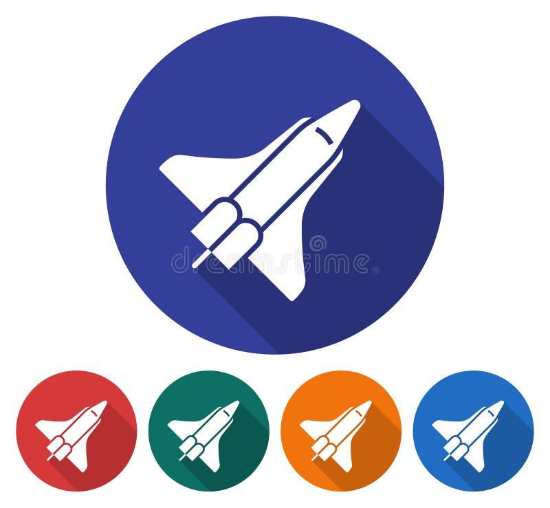 Rund symbol av rymdfärjan vektor illustrationer