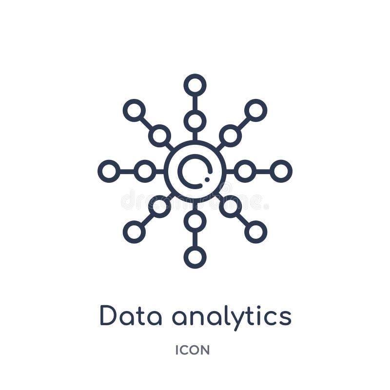 Rund symbol för linjär dataanalytics från affärs- och analyticsöversiktssamling Tunn linje rund vektor för dataanalytics royaltyfri illustrationer