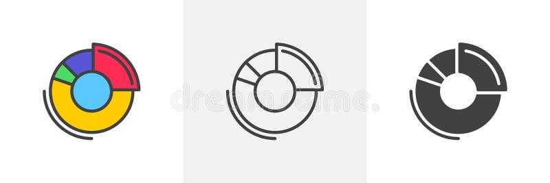 Rund symbol för pajdiagram royaltyfri illustrationer