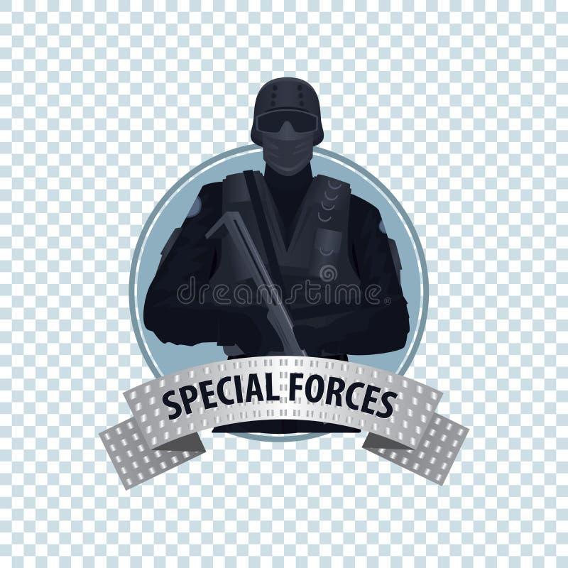 Rund symbol med den speciala rättsskipningenheten vektor illustrationer