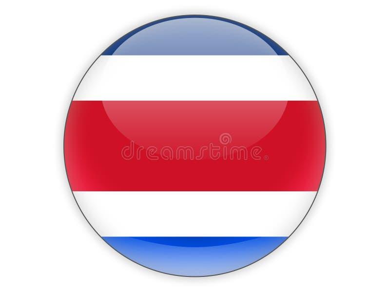 Rund symbol med flaggan av Costa Rica vektor illustrationer