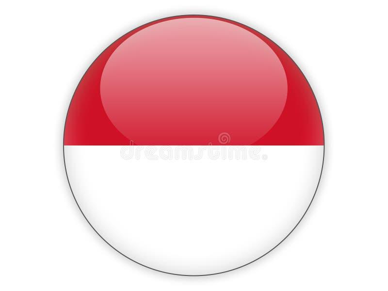 Rund symbol med flaggan av Monaco royaltyfri illustrationer