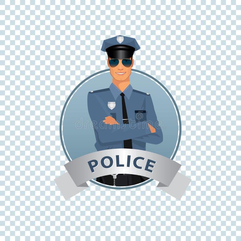 Rund symbol på vit bakgrund med polisen vektor illustrationer