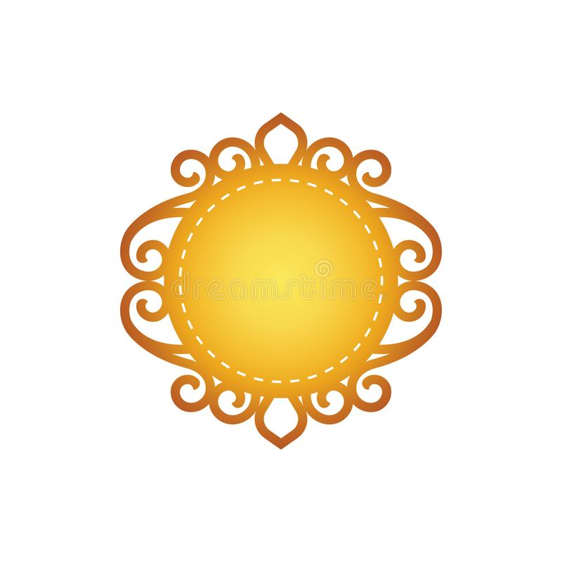 Rund symbolsmall med en klassisk filigran stock illustrationer