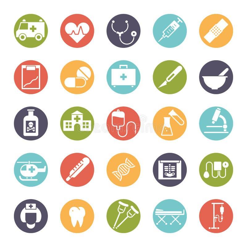 Rund symbolsuppsättning för läkarundersökning och för hälsovård vektor illustrationer