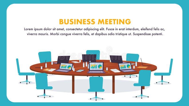 Rund tabell för plan illustration för affärsmöte stock illustrationer