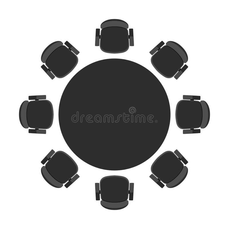Rund tabell för vektor för diskussion royaltyfri illustrationer
