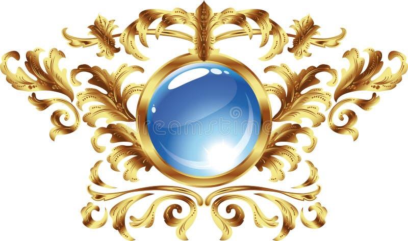 rund tappning för ramguld royaltyfri illustrationer