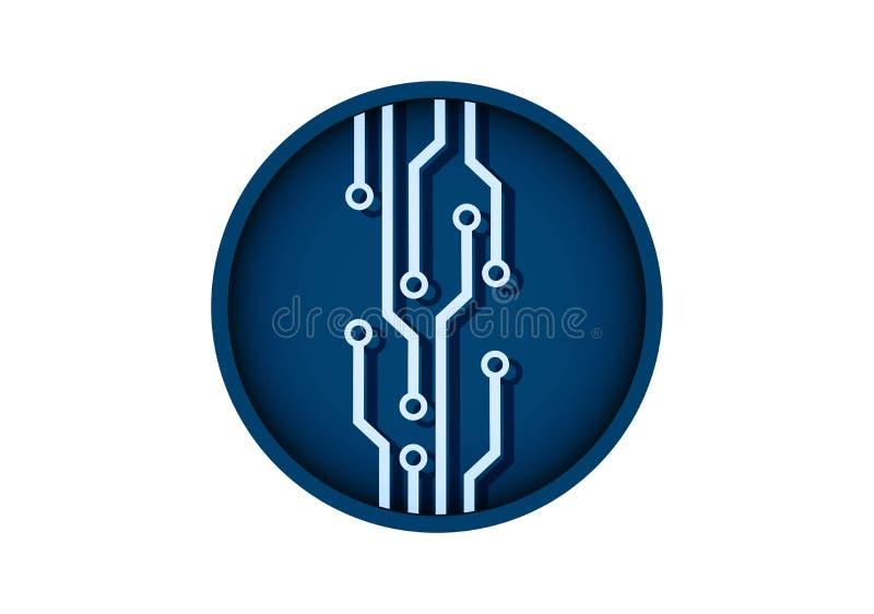 Rund teknologisymbol f?r Microcircuit kul?rt ber?knande isolerat vektortecken stock illustrationer