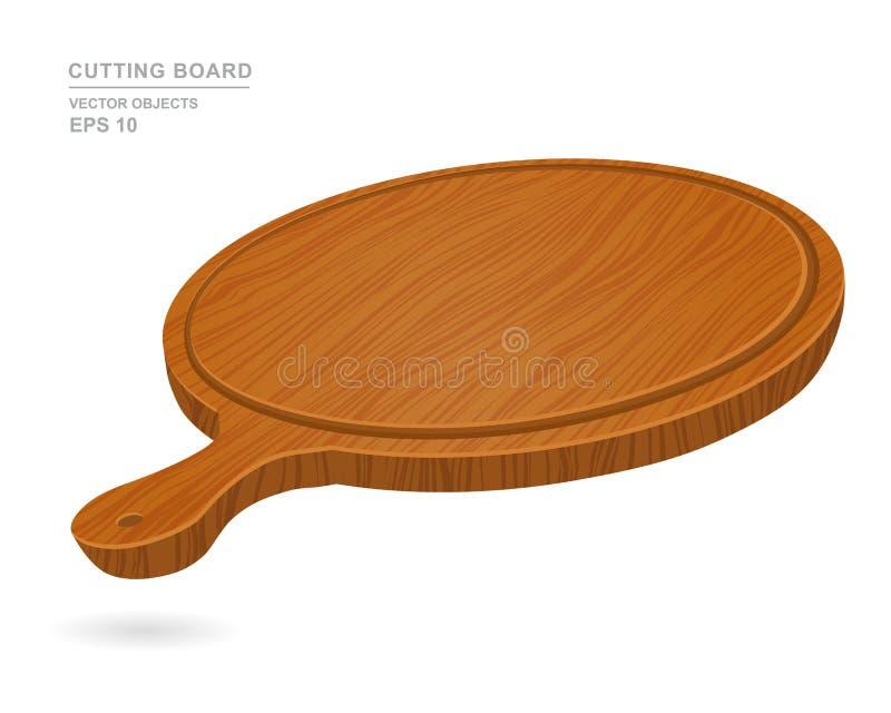 Rund tom skärbräda för pizza som isoleras på vit bakgrund bakgrunder sörjer praktiskt trä vektor illustrationer