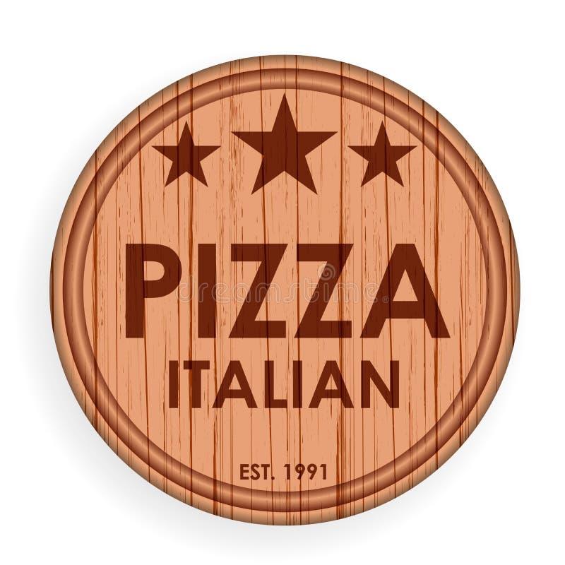 Rund träplatta, skärbräda Mall för pizzadesignbeståndsdelar för logoetiketten för pizzeria också vektor för coreldrawillustration stock illustrationer