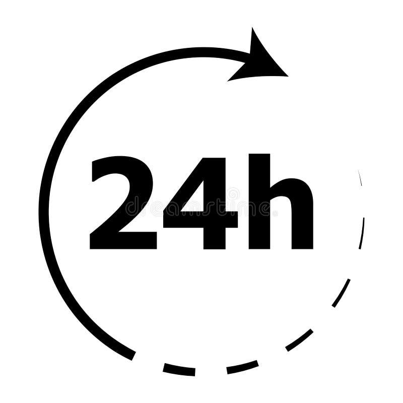 Rund um die Uhr Ikone 24 Stunden stock abbildung