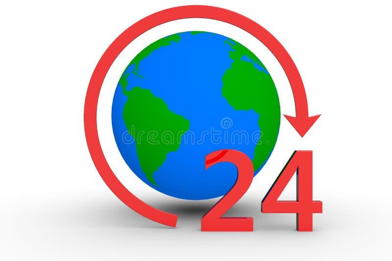 Rund um die Uhr rund um den Globus lizenzfreie abbildung
