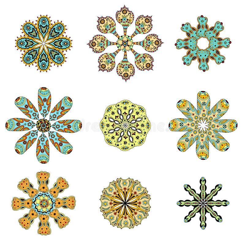 Rund uppsättning med mandalaen royaltyfri illustrationer