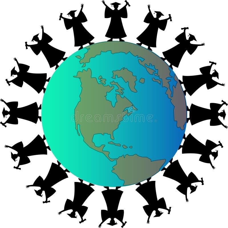 rund värld för kandidater stock illustrationer