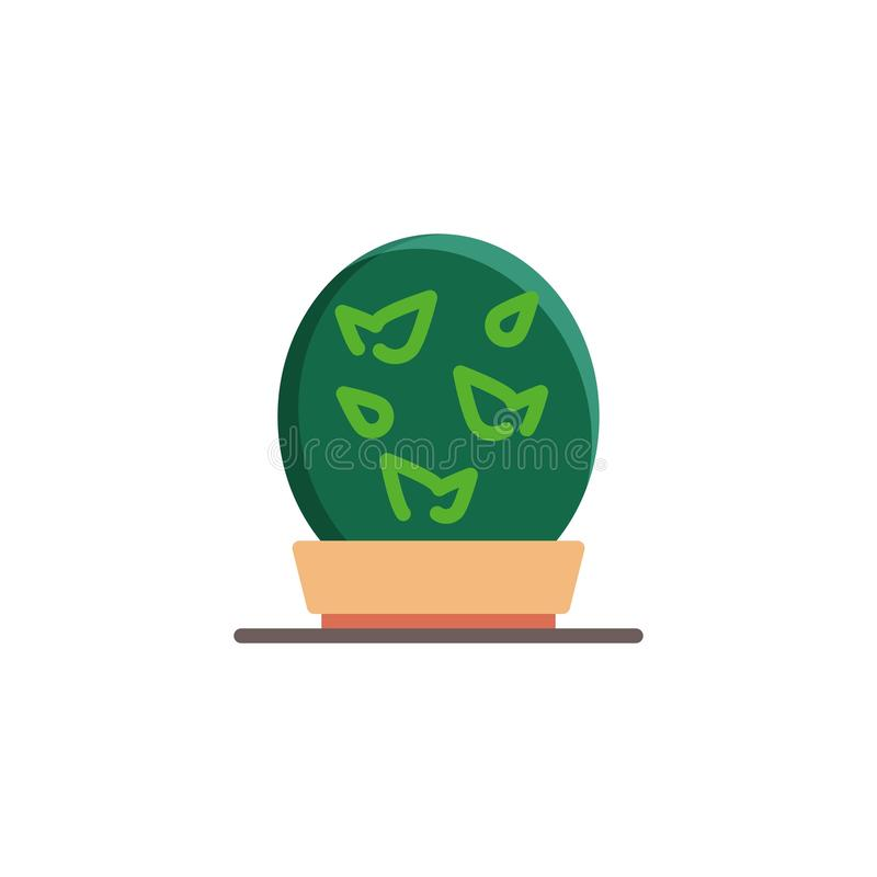 Rund växt i en plan symbol för blomkruka royaltyfri illustrationer