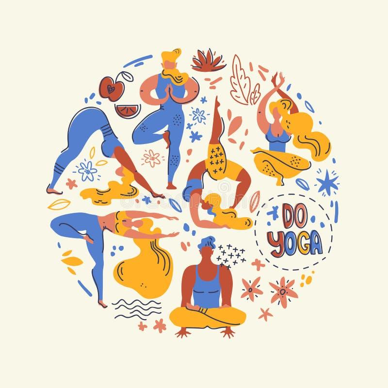 Rund vektorillustration med yogis folk, växter och blommor Plant enkelt diagram, scandinavian stil vektor illustrationer