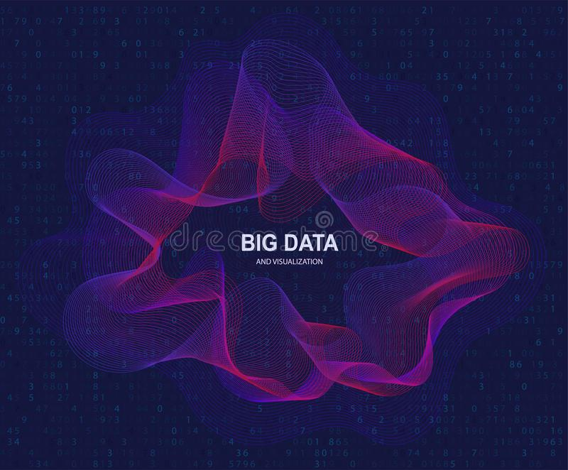 Rund visualization av stora data, konstgjord intelligens Överföring för flödesbegrepp och data vektor illustrationer