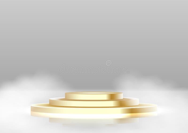 Rund vit bakgrund för podium, för sockel eller för plattform royaltyfri illustrationer