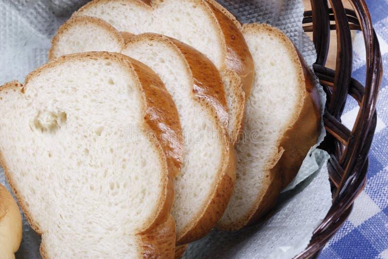 Rund vom weißen Brot stockfotos