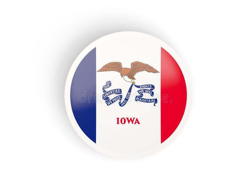 Runda böjd symbol med flaggan av iowa Förenta staterna lokalflaggor stock illustrationer