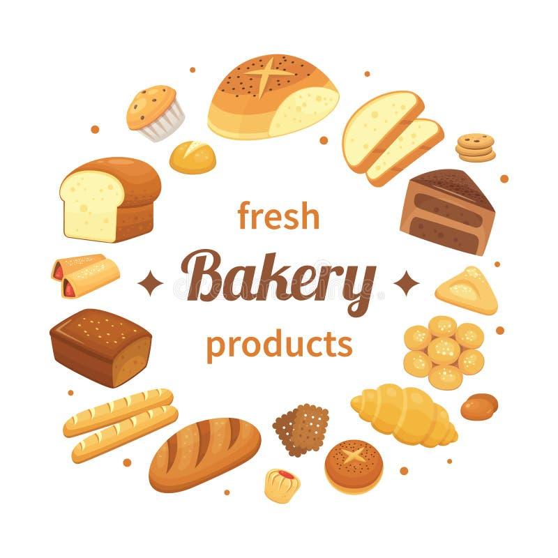 Runda bageriprodukter märker Ny bakad bröd, pumpernickelfrukostrullar och bakning släntrar Brödetikettvektor royaltyfri illustrationer