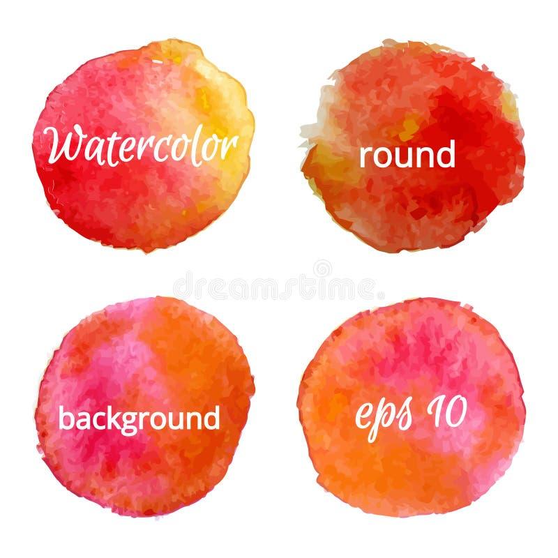Runda bakgrunder för vattenfärg också vektor för coreldrawillustration vektor illustrationer