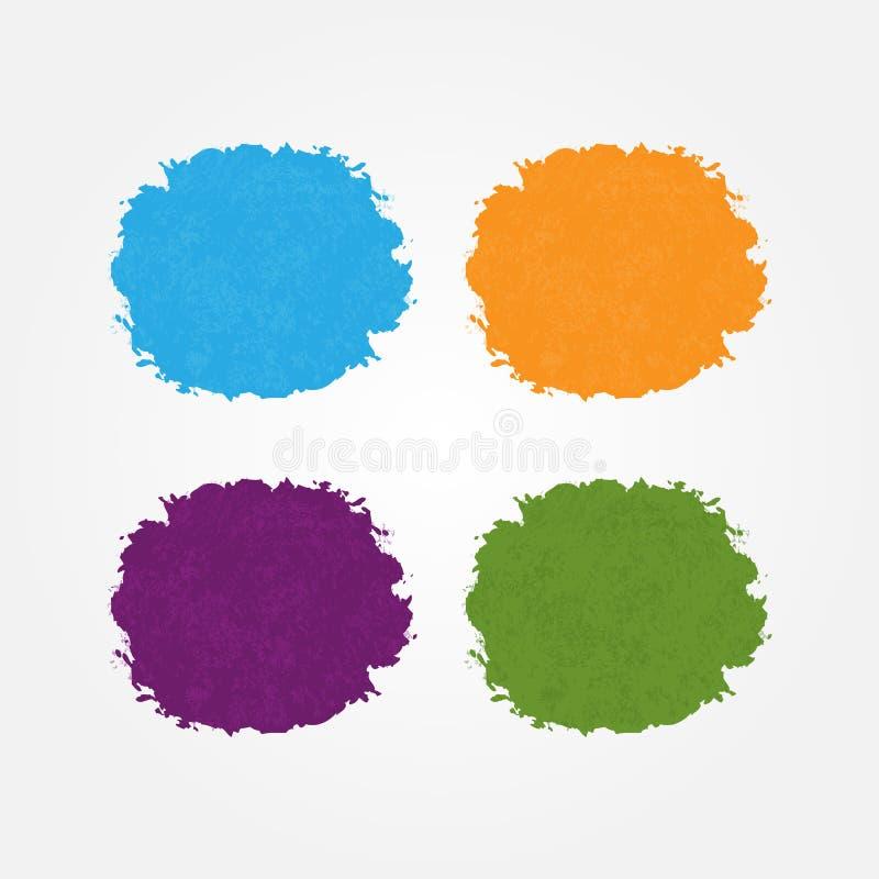 Runda bakgrunder som målas med borsteslaglängder Vattenfärgfläckar vektor illustrationer