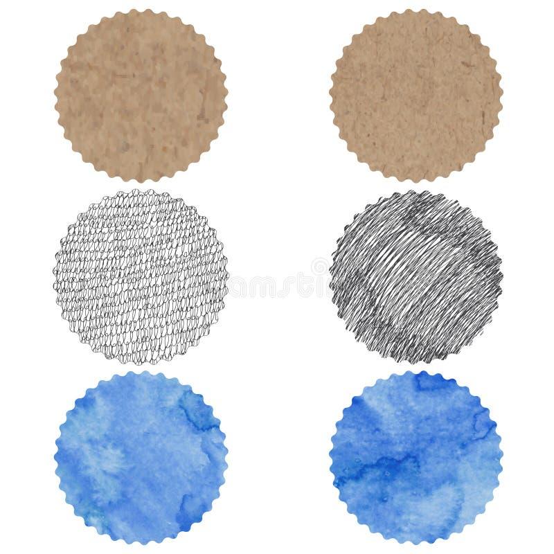 Runda beståndsdelar för design med olika texturer: kraft papper, royaltyfri illustrationer
