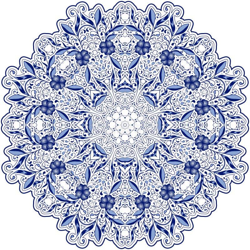 Runda blått snör åt doilymandalaen med virvlar, blommor och lövverk Utforma orientaliska motiv vektor illustrationer