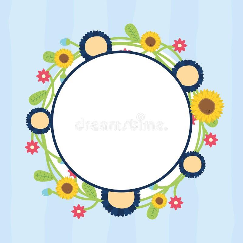 Runda blom- ramblommor royaltyfri illustrationer