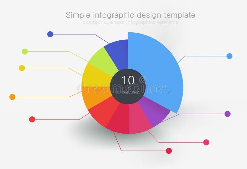Runda denfärgade beståndsdelen för infographics som delas in i 9 delar royaltyfri illustrationer
