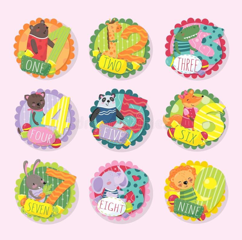 Runda emblem med nummer från 1 till 9 och olika djur Björn giraff, krokodil, kattunge, panda, räv, kanin stock illustrationer