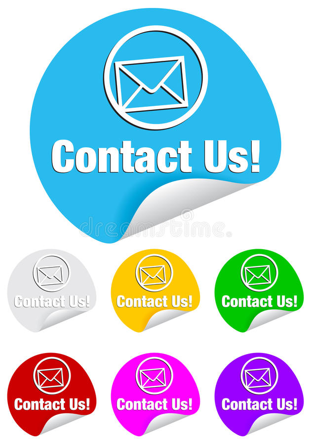 runda etiketter för kontakt oss royaltyfri illustrationer